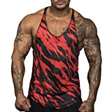 NUWFOR Men's Sleeveless Camouflage Tank Top Tee Shirt Bodybuilding Sport Fitness Vest(Red,L US Bust:42.52'')