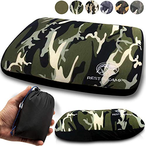 Inflatable Camping Travel Pillow Ultralight - Best Compact Backpacking Pillow - Portable Air Pillow for Backpack Camp Exped Travelling Hiking Survival Sleeping - Lightweight Inflating Blow Up Pillow (Inflatable Throw Pillow)