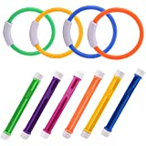 JUOIFIP Diving Rings & Diving Sticks Numbered Swimming Pool Toy Underwater Play Dive Training Gift Learning to Swim Boy Girl