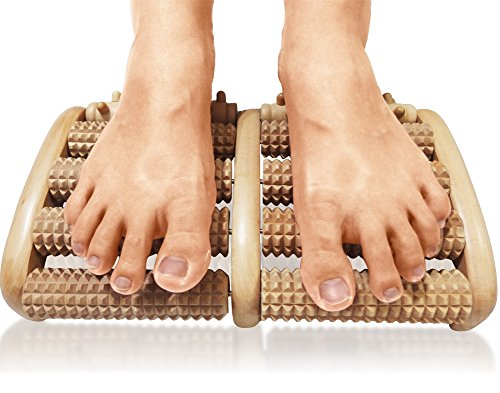 TheraFlow Dual Foot Massager Roller (Large) - Relieve Plantar Fasciitis, Heel, Foot Arch Pain & Stress - Foot Chart & Instructions Included - Acupressure/ Reflexology Tool - Perfect Gift