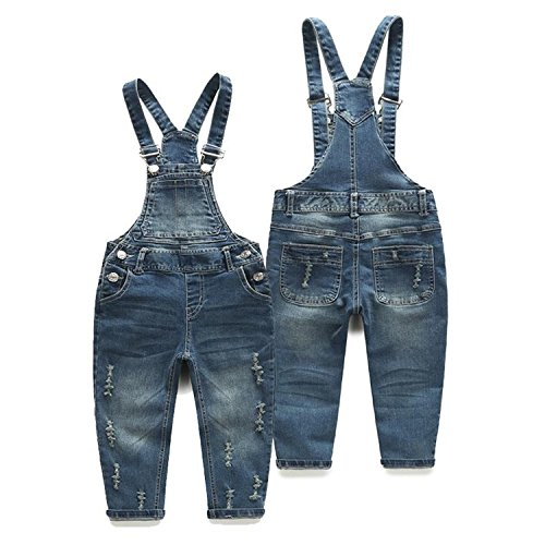Hoared Spring/Autumn Style Ripped Denim Overalls Jumpsuits Casual Kids Jeans Toddlers Clothes Blue -