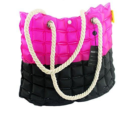 Angelina - Borsa da spiaggia / mare / shopper / da viaggio / per la piscina, grande, con zip, da indossare sulla spalla, per donna, con diversi motivi e colori e motivi Blu+Rosa Rosa+nero