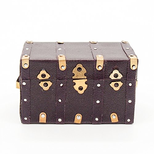 Odoria 1:12 Miniature Vintage Treasure Chest Wooden Case with Leather Cover Dollhouse Decoration Accessories