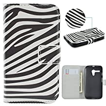 Moto G Case,IVY [Zebra Stripes] Moto G PU Leather Phone Wallet Case with Kickstand For Motorola Moto G (1st Generation) Phone