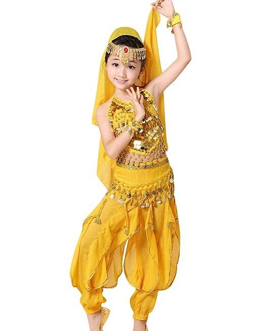Guiran Traje De Danza del Vientre Lentejuela Baile India Top ...