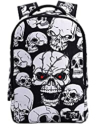 Linbag Lightweight Cool Skull Boys Girls School Bookbag Backpack for Teens