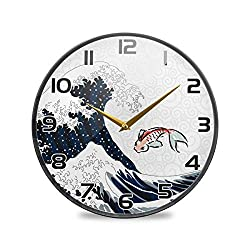 Mr.Brilliant Wall Clock Japan Wave Fish Silent Non Ticking Operated Round Japanese Print Ukiyo-E Clock for Home Office School 11.9x11.9in 2060004