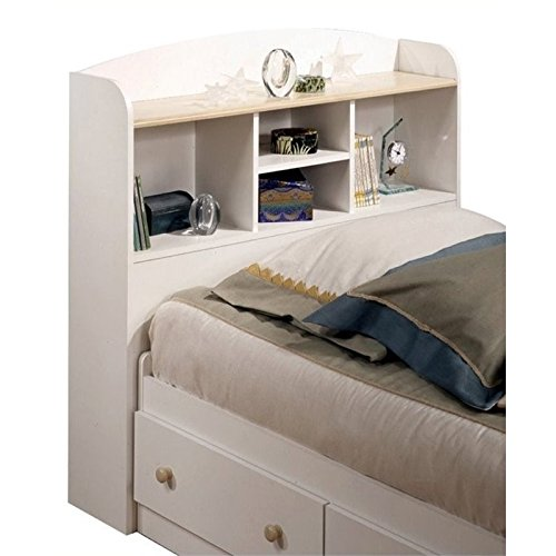 Twin Bookcase Storage Headboard In Pure White Finish