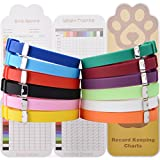 EXPAWLORER Puppy ID Collars 12pcs - Soft Silicone Whelping Identification Collar with Record Keeping Charts, Make Holes by Yourselves