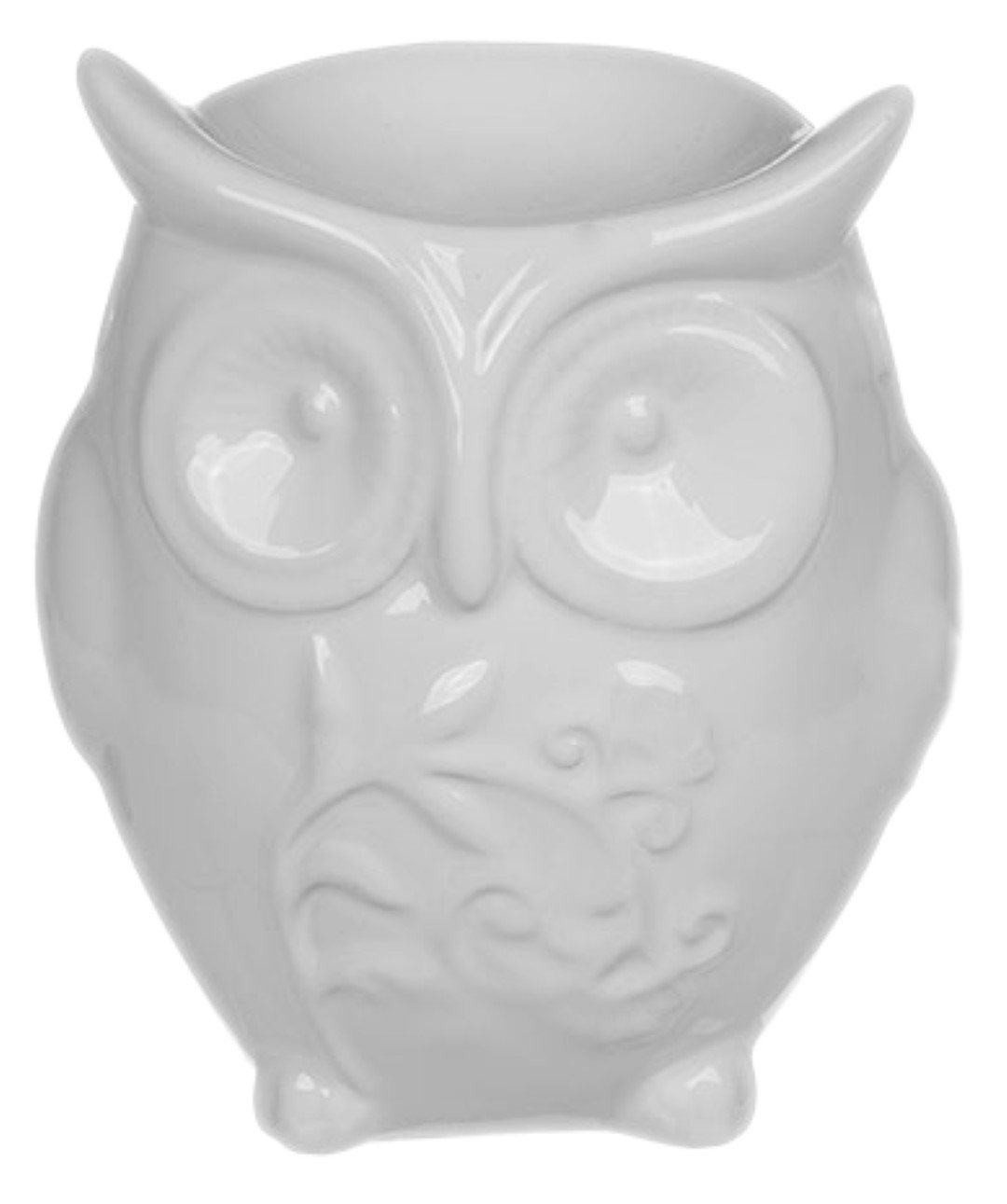 Ceramic Owl Oil Burner 10 cm (Grey) Piquaboo