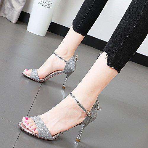 Xue Qiqi Fliege Hochhackige Sandalen geschlitzten Fliege Qiqi wasser Bohren von Metall ring Tau - fein mit Damenschuhe Tide f8db9a