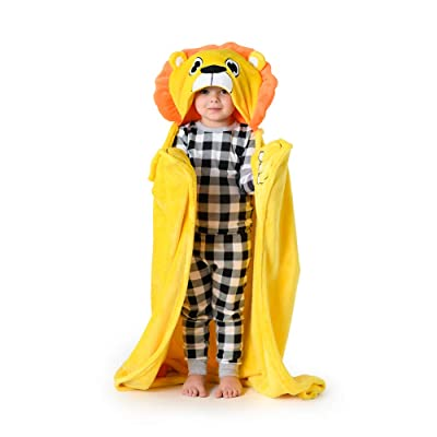 "Canoogles Lion Wearable Hooded Blanket for Kids | Super Soft & Cozy with Corner Hand Pockets | Machine Washable | 40"" H x 50"" W, One Size: Home & Kitchen"
