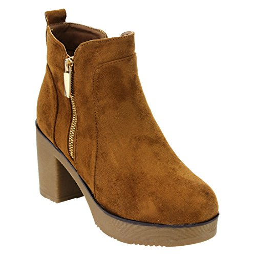 Beston EJ63 Womens Chunky Heel Platform Faux Suede Ankle Booties With Side Zipper Color Camel (Ladies Brown Suede Boots)