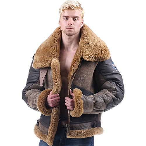 Mens Bomber Pilot Costume (B3 sheepskin Jacket air Bomber Fur Vintage military pilot boy men genuine b-3 (40, Brown))