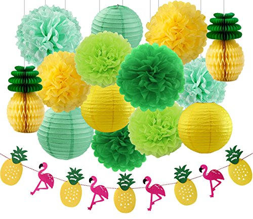 Hawaiian Luau Party Decorations Tropical Party Decorations Tissue Pineapples Green Mint Yellow Tissue Paper Pom Poms Flamingos Pineapples Banner and Paper Lanterns Pineapple Decorations for Party (Hawaiian Lanterns Paper)