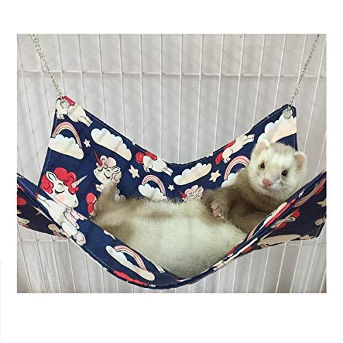 Ferret Hamacas cama para jaula, unicornio de lana antiadherente hecha a mano Hamaca para gato de mascota pequeño, hurón,...