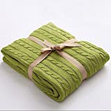 Prosshop Crocheted Blanket Handmade Super Soft Warm Twist Cotton Cable Knitting Throw Sleeping Cover Blanket Rug for Kids or Adults Bedroom Sofa/Bed/Couch/Car/ Quilt Living Room/ Office (Deep Green)