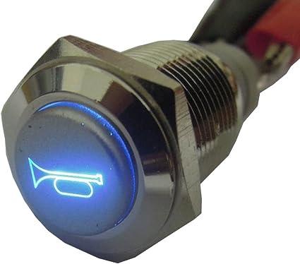 E Support Kfz Auto Boot Kippschalter Druckschalter Schalter Drucktaster Druckknopf 12v Blau Led Licht Metall Lautsprecher Horn Auto