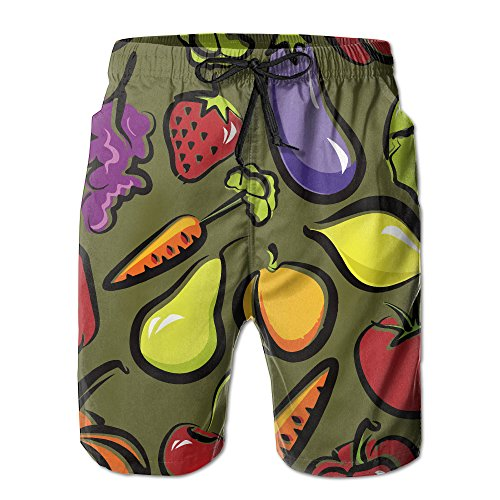 Fruit And Vegetables Dish Men's Summer Quick-Drying Beach Pants Comfortable Board Shorts X-Large