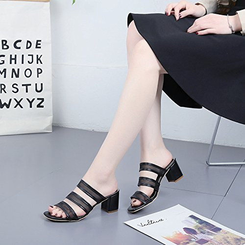 Fashionable Wild Ms WHLShoes And Sandals Black slippers Words Leak Summer Slippers women Toe Leisure qxUEZ