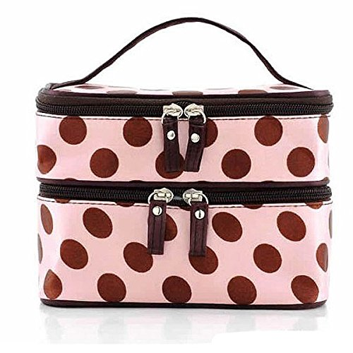 Kalevel Double Layer Dual Zipper Toiletry Travel Cosmetic Bag Makeup Bag Case Toiletry Bag Train Case Handbag Organizer for Women