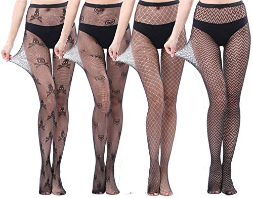 AHLW High Waisted Tights Fishnet Stockings for Women-Sexy Pantyhose Stocking Tights Heart-Skull-Wave-Grid (B)]()