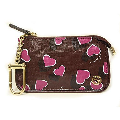 Gucci 338331 Purple Leather Heart Card Clip Case