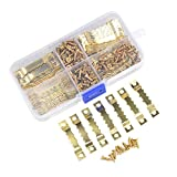 LETS MEETi TIMESETL 100 Pieces Picture Frame Hanging Sawtooth Hangers Kits Double Hole 200 Head Screws Wall Mounting Golden Color