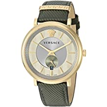 Versace Men's The The Manifesto Edition Stainless Steel Quartz Watch with Leather Calfskin Strap, Green, 20 (Model: VBQ030017