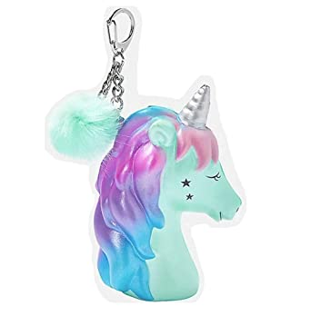 Amazon.com: Justice Unicorn Ombre - Llavero con pompón: Clothing