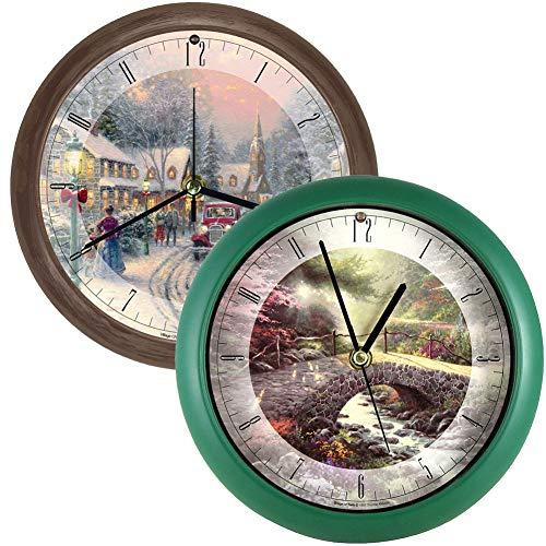 (Johnson Smith Co. (Set) Thomas Kinkade Christmas Village Musical & Bridge of Faith Wall Clock)