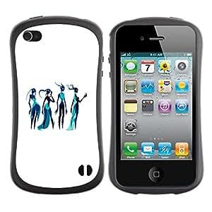 "Pulsar iFace Series Tpu silicona Carcasa Funda Case para Apple iPhone 4 / iPhone 4S , Diosa Arte Bosquejo de la moda azul Mujer del agua"""