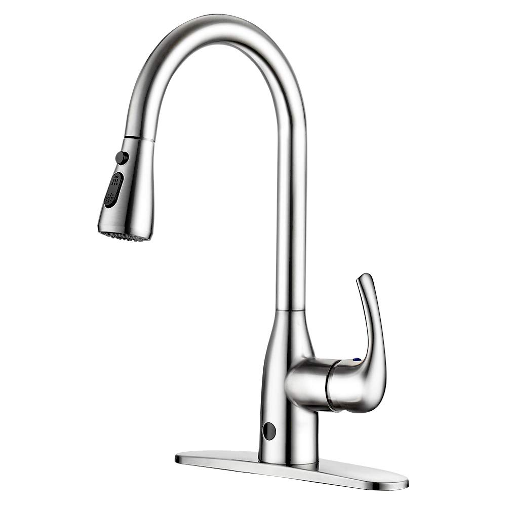 Touchless Kitchen Faucet Two-Sensor One-Handle High Arc Kitchen Faucets with Dual Function Pull Down Spray Head, Best Commercial Faucet with Deck Plate, Brushed Nickel PVD