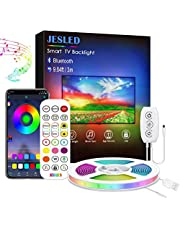 LED Strip Lights,JESLED 6M Buetooth LED Light Strips with IR Remote Controller for TV Bedroom (3 Control Method&Built-in Micro USB Powered)