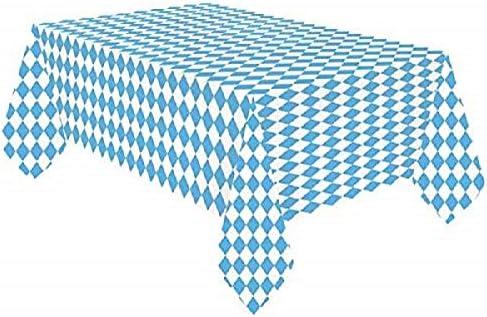 Miss Lovely Papier-Tisch-Decke Bayerische Raute wei/ß-blau Tisch-Dekoration//Motto-Party Bayern//Oktoberfest//Geburtstags-Deko JGA Accessoires Einweg-Deko