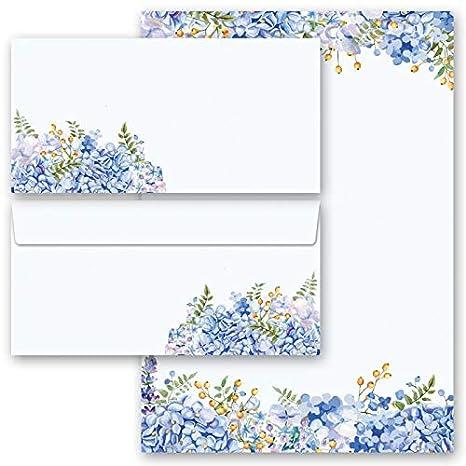 Motiv-Briefpapier-Set BLUMENGRÜSSE 20-tlg DL ohne Fenster Set