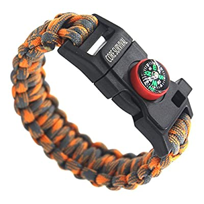 Core Survival Paracord Survival Bracelet - Hiking Multi Tool, Paracord Bracelet, Emergency Whistle, Compass for Hiking, Camp Fire Starter by Makesense Marketing