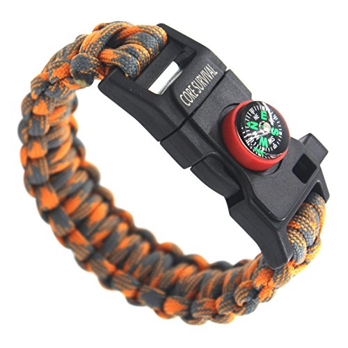 Core Survival Paracord Survival Bracelet Hiking Multi Tool, Emergency Whistle, Compass for Hiking, Camp Fire Starter 5 in1 Set