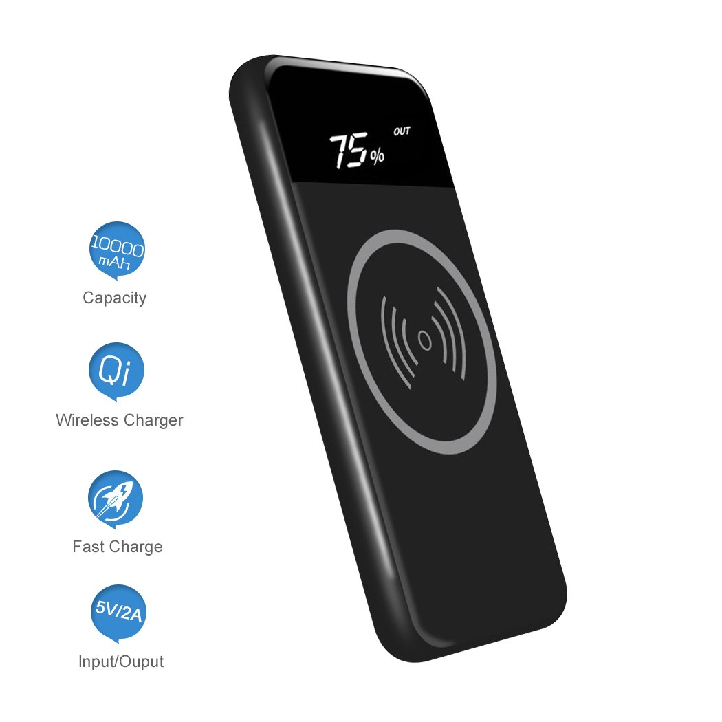 Wireless Charger Power Bank Qi 10000mAh Portable Power Fast Charge with LED Battery Reminder Suit for iPhone Xs Max iPhone X 8 Plus and More(Black) EJEAS UIM-10000