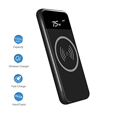 Wireless Charger Power Bank Qi 10000mAh Portabl...
