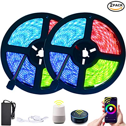 LETOUR LED Strip Lights 10M WiFi Smart RGB Strip Lights 4000K Colors Waterproof IP65 Work with Alexa Google Home & IFTTT Upgrade WiFi Controller 32.8FT 600 LEDs (32.8ft 600LEDs WiFi Control-2Pack) (Best Ifttt Google Home)