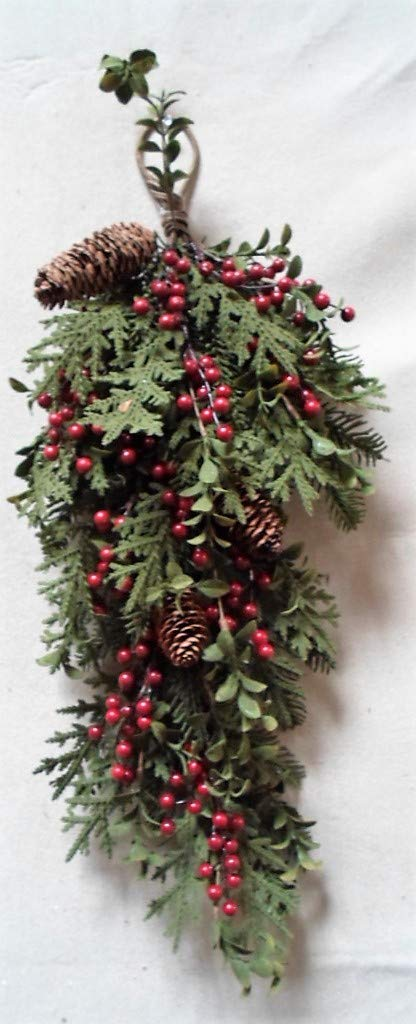 JMB Christmas Multi-Pine 29'' Teardrop with Dark Red Berries, Eucalyptus, Pinecone and Winter Ferns