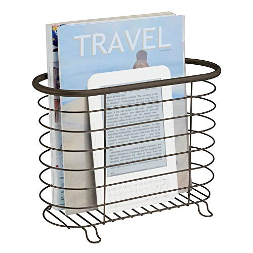 - mDesign Decorative Metal Farmhouse Magazine Holder and Organizer Bin - Standing Rack for Magazines, Books, Newspapers, Tablets in Bathroom, Family Room, Office, Den - Bronze