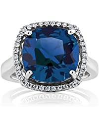 4.00 Ct 925 Sterling Silver Cushion Cut Simulated Sapphire Women's Ring (Available in size 5, 6, 7, 8, 9)