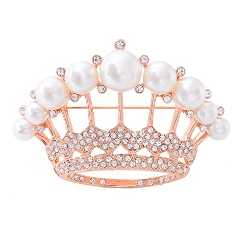 OBONNIE Large Gold Tone Crystal Queen Crown Pin Brooch With Pearl Wedding Bridal Pin (Rose Gold) ()
