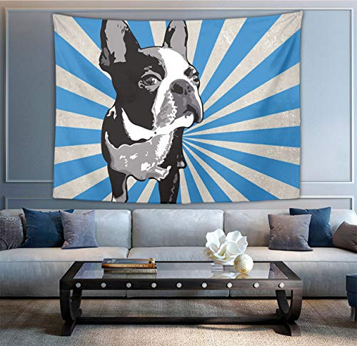 NiYoung Hippie Hippy Wall Tapestry Boston Black Terriers Tie Dye Blue White Large Mysterious Tapestry Wall Hanging Tapestry for Bedroom Dorm Accessories Mandala Yoga Picnic Mat Ethnic Tapestry