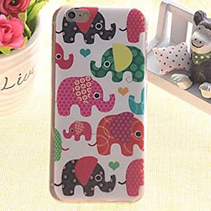 QJM Color Elephant Pattern TPU Relief Thin Transparent All Inclusive Back Cover Case for iPhone 5/iPhone 5S