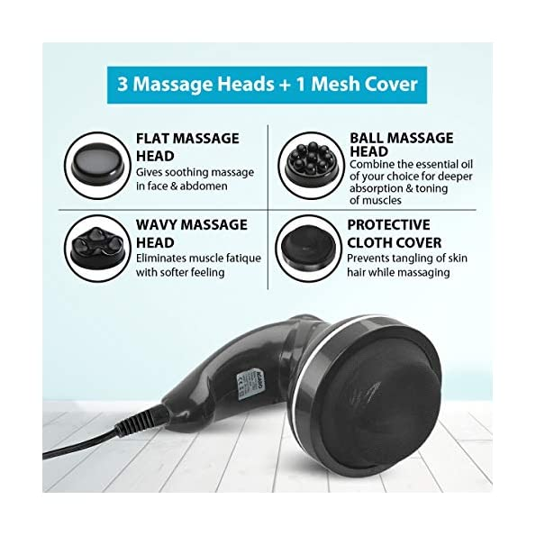 AGARO-ATOM-Electric-Handheld-Full-Body-Massager-with-3-Massage-Heads-variable-speed-settings-for-pain-relief-and-relaxation-Back-Leg-Foot