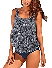 Women Push up Padded Printed Sporty Tankini Swimsuits Bathing Suit S-XXL