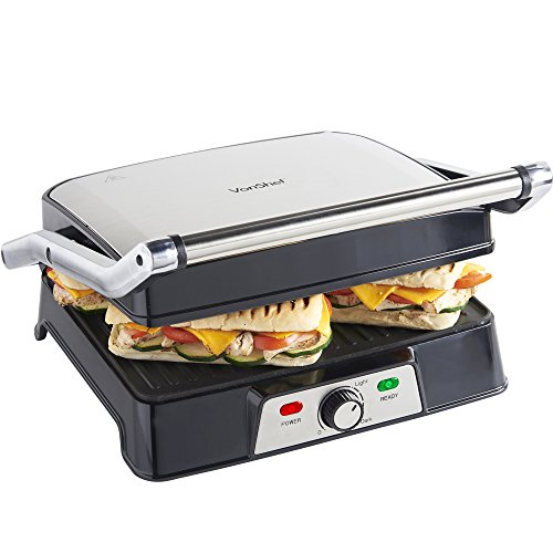 VonShef 4 Slice Sandwich Grill & Panini Press – Stainless Steel - 2000W